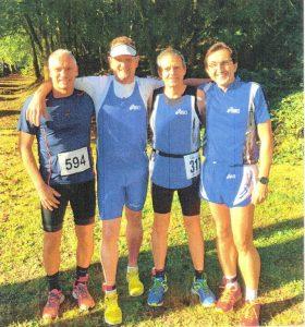 Saarl. Meisterschaft 10000 m Straße von links: Rainer Müller, Rudi Kammer, Ewald Wirbel, Stephan Eisenbart